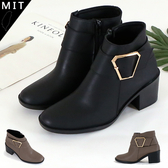 女款 個性大側釦側拉鍊 高跟短靴 馬丁靴 機車靴 MIT製造 59鞋廊