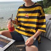 新款夏季男裝衣服男士短袖t恤撞色上衣情侶韓版潮流條紋體恤   伊鞋本鋪