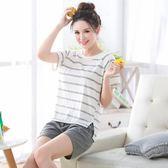 短袖睡衣女夏天可愛韓學生夏季薄女士家居服短褲兩件套裝【店慶八八折】