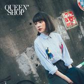 Queen Shop【01023154】繽紛人物印花長袖襯衫*預購*