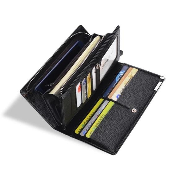男士錢包長款拉鏈皮夾多卡位錢夾手包男款商務拉鏈多功能手機包潮