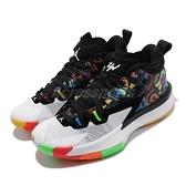 Nike 籃球鞋 Jordan Zion 1 GS Noah 白 彩色 錫安 胖虎 女鞋【ACS】 DA3131-001