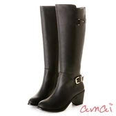 amai高低靴口造型尖頭粗跟長靴 黑