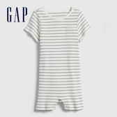 Gap嬰兒簡約風格條紋短袖包屁衣577929-象牙白
