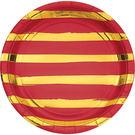 9吋金箔條紋圓盤8入-蘋果紅