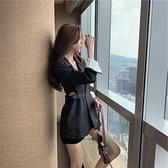 長袖洋裝 林珊珊同款韓版豎條紋西裝裙女連衣裙套裝顯瘦露腰撞色設計感小眾