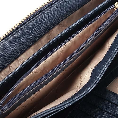 MICHAEL KORS Jet Set 金LOGO荔枝紋皮革手拿包(深藍色)618138-1