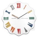 15吋 居家擺飾 可愛趣味 繽紛多彩 羅馬刻度 餐廳客廳臥室 靜音 波浪造型掛鐘 - 白色 #832MAC-C641