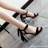 細跟小清新高跟鞋交叉綁帶涼鞋韓版百搭仙涼鞋女夏一字鞋新款