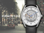 【時間道 】KENNETH COLE 時尚型男機械中心鏤空腕錶/白面黑皮(KC50205001)免運費