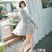 超仙雪紡連身裙學生甜美套裝洋裝 E家人