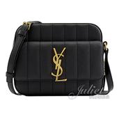 茱麗葉精品【全新現貨】YSL 555052 VICKY 絎縫皮革斜背相機包.黑