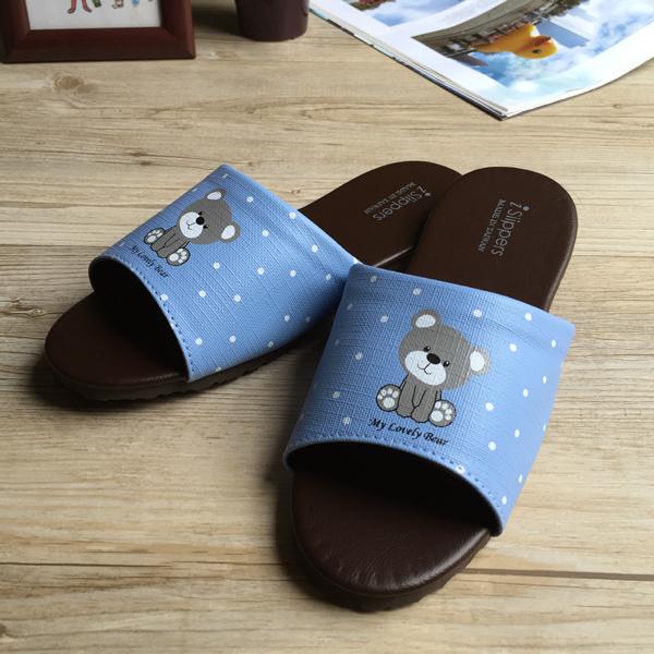 台灣製造-經典系列-親子室內拖鞋-療癒小熊-兒童-藍