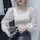 依Baby 韓版網紗拼接雪紡袖修身打底衫針織衫上衣