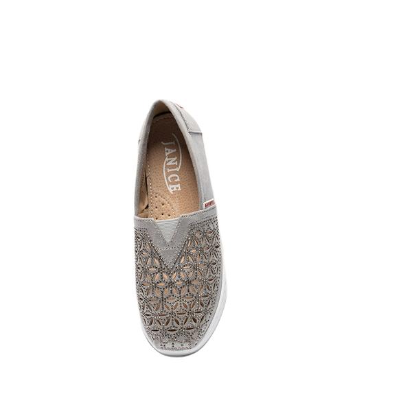 JANICE-雷射雕花休閒鞋352033-45銀