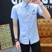 夏季短袖襯衫男士韓版修身青少年半袖襯衣潮男裝休閒寸衫白色衣服       麻吉鋪