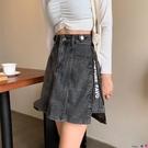 熱賣牛仔短裙 春秋2021新款大碼胖mm顯瘦設計感牛仔半身裙女高腰a字包臀短裙子 coco