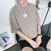 男夏季寬鬆半袖t恤中袖打底衫圓領七分袖2017新款SMY242【123休閒館】