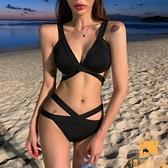 泳衣女網美度假歐美性感三點式比基尼分體兩件套黑色交叉綁帶泳裝【慢客生活】