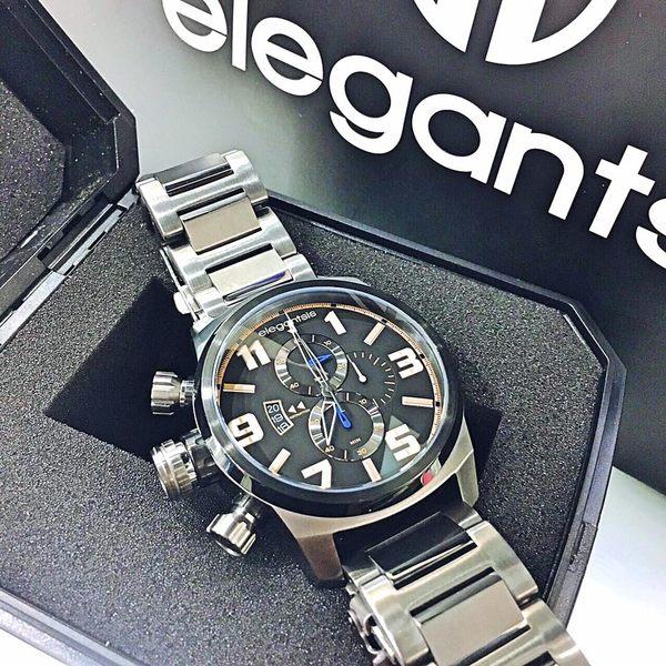elegantsis 橘黃藍配色軍風左冠三眼鐵灰鋼錶x48mm・公司貨・ELJF48K-OB02MA|名人鐘錶高雄門市