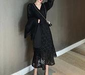 長裙 秋裝2021新款設計感裙子輕熟風長裙收腰顯瘦氣質長袖連衣裙女神范【快速出貨八折優惠】