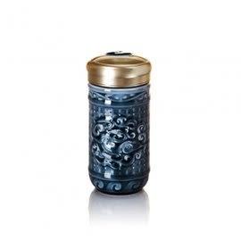 【收藏天地】乾唐軒活瓷系列*勢在必得隨身杯 礦藍釉款∕按摩 舒緩 碧璽 電氣石 養生