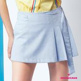 【SHOWCASE】學院風半百褶腰袋釦A字短裙(藍)