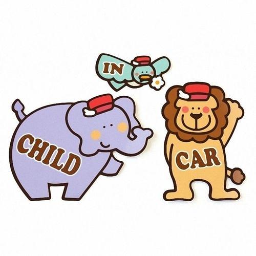 Kikka 日製車用造型磁鐵組 CHILD IN CAR-大紫象.青鳥.獅子[衛立兒生活館]