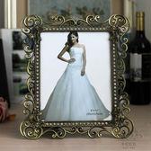 (中秋特惠)金屬相框 7寸金屬相框白色現代銅色復古婚紗照相架新年禮物禮品擺件飾品
