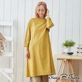 【Tiara Tiara】織紋長袖純棉日光長袖洋裝(黃)
