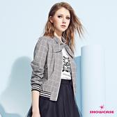 【SHOWCASE】英倫風格紋綁帶領結造型運動外套(黑色)