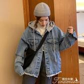 牛仔外套-開學季牛仔外套女復古港味矮個子秋裝洋氣連帽百搭寬鬆 提拉米蘇