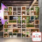 美式鐵藝實木屏風隔斷工業風玄關書架復古儲物柜置物架LOFT展示架JY-『美人季』