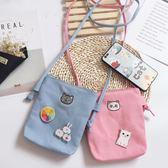 手機包夏季韓版卡通帆布零錢包女斜挎包迷你小包包布藝掛脖手機袋