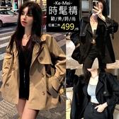 克妹Ke-Mei【AT62346】复古LADY款軍風雙排釦束口袖英倫風衣外套