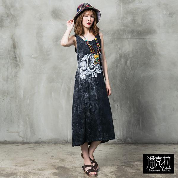 大象圖案石洗背心裙(黑色)-F【潘克拉】