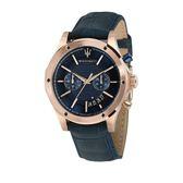 【Maserati 瑪莎拉蒂】/兩眼設計真皮錶(男錶 女錶)/R8871627002/台灣總代理原廠公司貨兩年保固