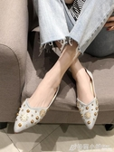 鞋子百搭鉚釘尖頭單鞋女平底淺口瓢鞋舒適軟底豆豆鞋 格蘭小舖