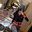 VK精品服飾 韓國風氣質修身撞色針織長袖上衣