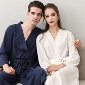 睡袍 夏天浴袍女士棉質男士浴衣薄款春秋夏季情侶性感和服白色睡袍睡衣 poly girl