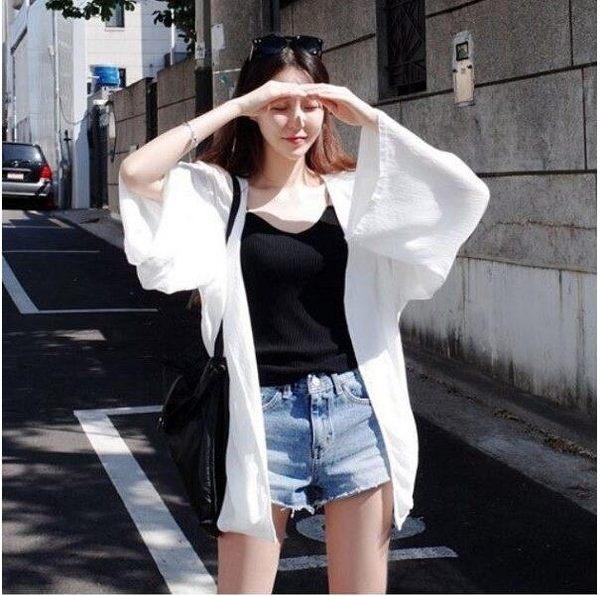 快速出貨 - 韓國甜美沙灘外搭防曬外套罩衫-鉤花透視鏤空針織蕾絲七分袖薄外衣(S-XL)