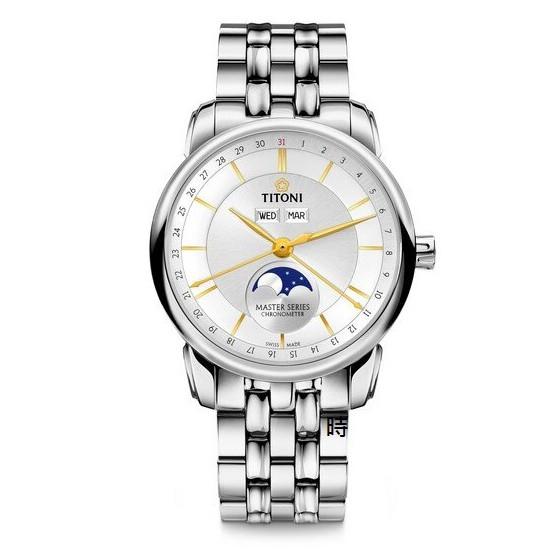 TITONI 梅花錶 大師系列 天文台 月相錶(94588S-635) 白/41mm