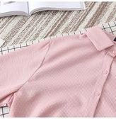 加大碼長袖條紋雪紡襯衫打底衫襯衣 東京衣櫃