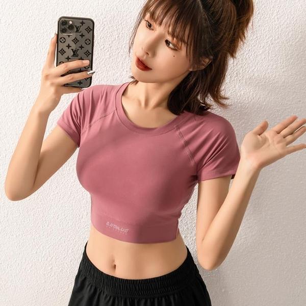 降價兩天 網紅健身服瑜伽短袖女緊身性感露肚臍運動上衣短款速干彈力t恤夏‧運動