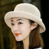 春夏季新款禮帽韓版遮陽帽英倫女士草帽爵士帽出游度假沙灘帽子潮    韓小姐