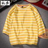 Rampo/亂步學生圓領條紋半袖T恤寬鬆韓版小清新海魂短袖上衣男女