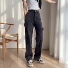 清倉特惠# 煙灰色INS風新款牛仔褲女直筒寬松顯瘦年秋季超酷闊腿褲子