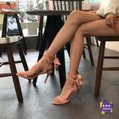 高跟涼鞋 2020新款夏季一字帶涼鞋女仙女風小ck綁帶高跟鞋粉色細跟百搭女鞋T