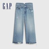 Gap女童做舊風格五口袋闊腿牛仔褲575086-淺色水洗