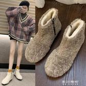 雪地靴-冬季羊羔毛卷毛雪地靴女平底防滑加厚保暖毛毛鞋網紅短筒靴潮 東川崎町